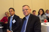 Frank Yiannas and Mike Taylor watch lively debate on food safety culture. Photo: amyBcreative
