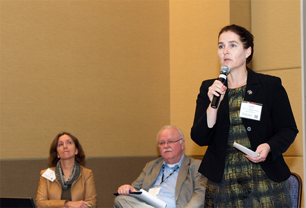 Lone Jespersen of Maple Leaf Foods debates food safety culture at the 2015 Food Safety Consortium.