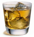 Scotch, ice cubes