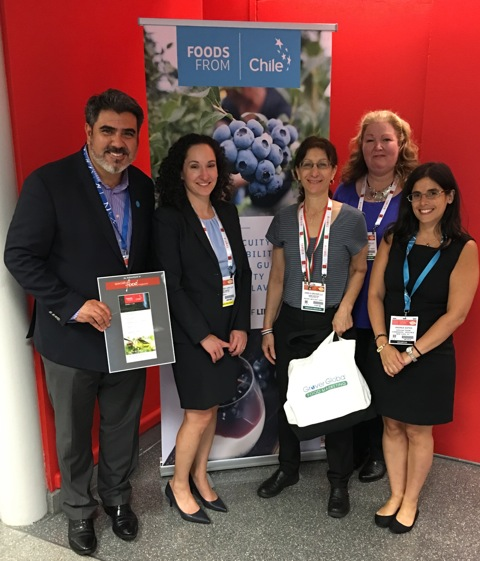 (left to right) vent sponsor, Mauricio Banchieri, Trade Commissioner, Trade Commission of Chile in New York - ProChile, with speakers Lauren Handel, Janis Grover, Patty Murray and Andrea Sapag of the Trade Commission.