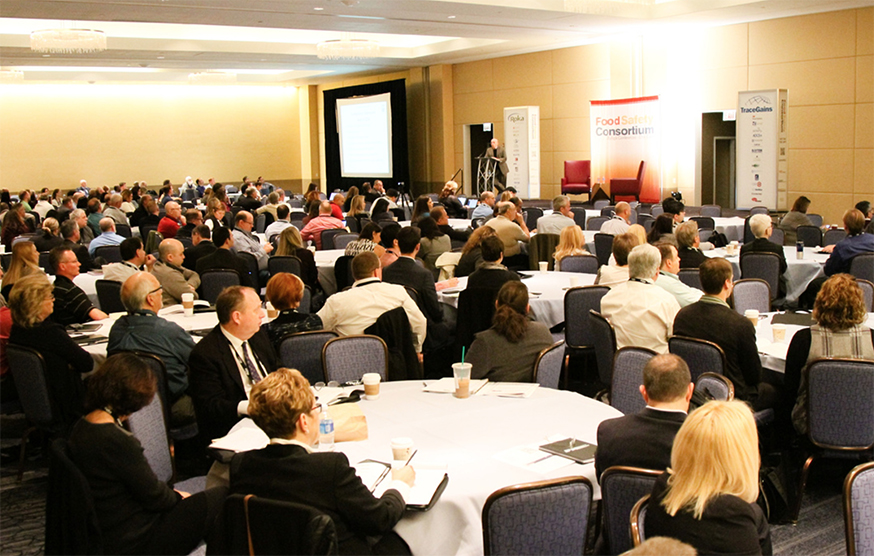 Attendees listen to Stephen Ostroff, M.D., deputy commissioner for foods and veterinary medicine at FDA, give the keynote presentation at the 2016 Food Safety Consortium.