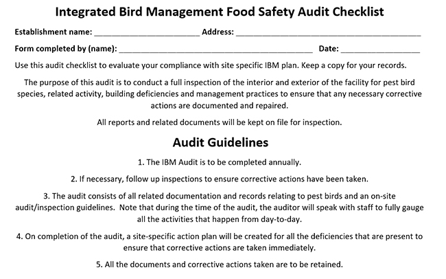 Integrated bird management, audits, food safety