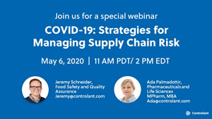 Webinar: COVID-19 - Strategies for Managing Supply Chain Risk