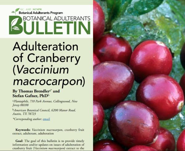 Cranberry adulteration, Botanical Adulterants Bulletin