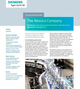 The Absolut Company: World-class manufacturing with Siemens manufacturing operations management